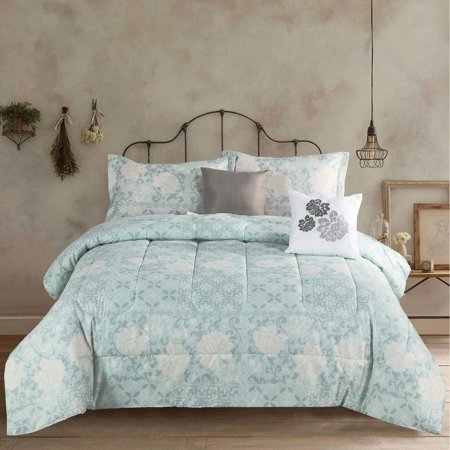 Queen Floral Country Farmhouse 5 Piece Comforter Bedding Set, Teal Grey and White