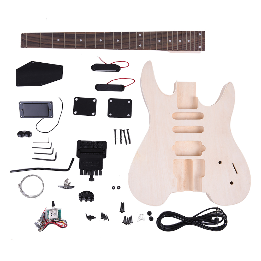 KKmoon 24 Frets 6 Strings DIY Electric Guitar Kit Basswood Body Rosewood Fingerboard Maple Neck