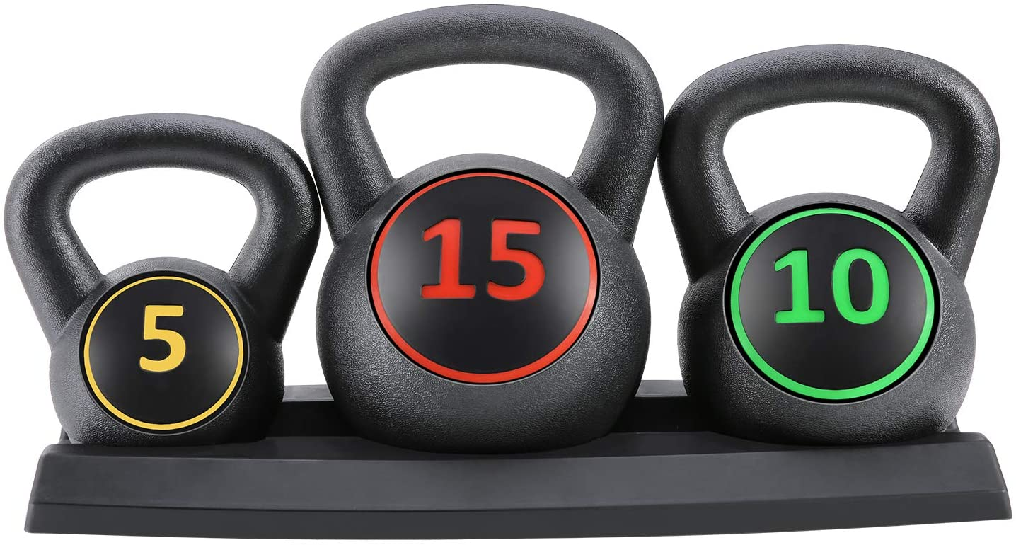 10lb 3-Piece HDPE Kettlebell Exercise Fitness Weight Set w// 5lb 15lb Weights