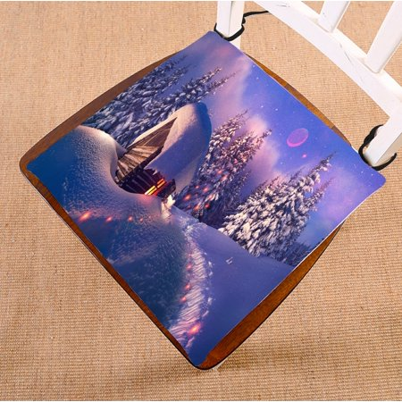PHFZK Winter Snow Tree Chair Pad, Merry Christmas Beautiful Wooden House with Glowing Window Seat Cushion Chair Cushion Floor Cushion Two Sides Size 16x16 inches ()
