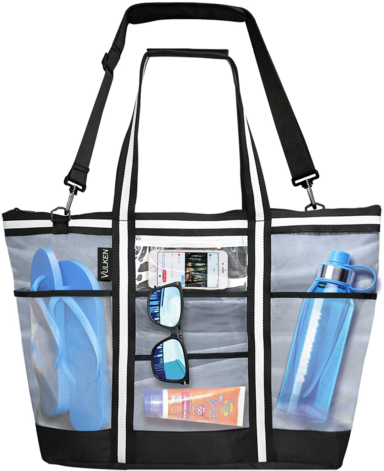 Mesh Beach Toys Bag Travel Tote Multiple Pockets Picnic Storage Pouch Novelty