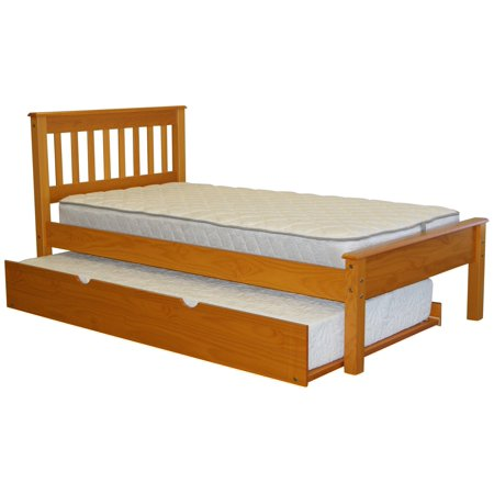 Trundle Honey - Bedz King Mission Style Twin Bed with a Twin Trundle Honey