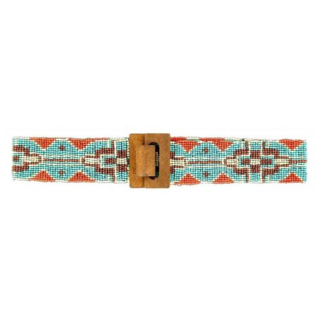 Large Multi Colored (Womens Wide Beaded Tribal Belt, Multi Colored - Large & Extra Large )