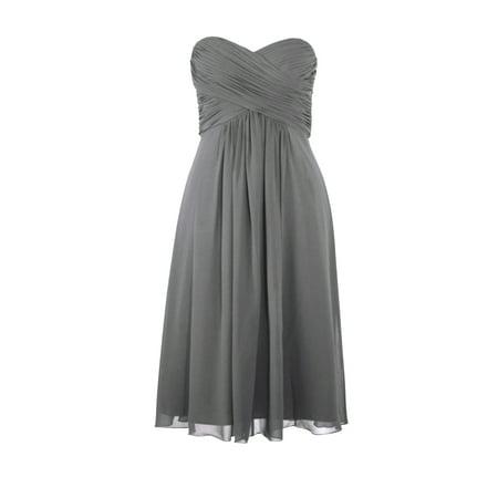 Faship Womens Elegant Strapless Pleated Sweetheart Neckline Formal Dress Gray -