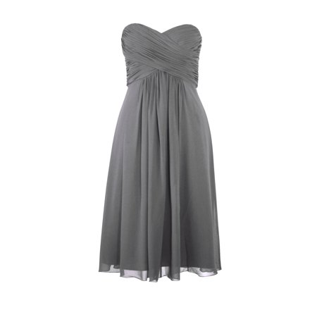 Faship Womens Elegant Strapless Pleated Sweetheart Neckline Formal Dress Gray - 8,Gray](Glow In The Dark Sweet 16 Dress)
