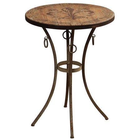 Round Side Table with Fleur De Lis Motif Painted - Centre De Table D'halloween