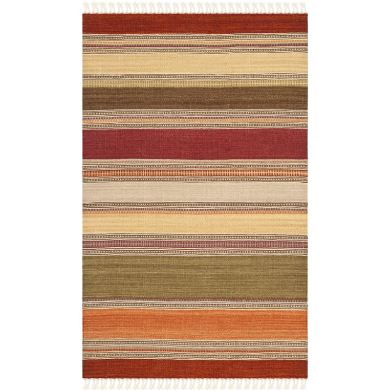Safavieh Striped Kilim 7 Square Hand Woven Wool Rug In Green