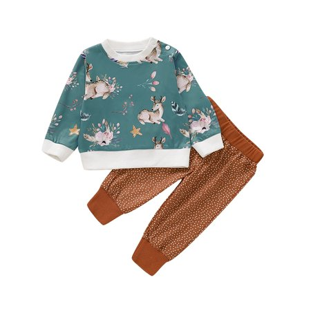 Newborn Kid Baby Girl Christmas Xmas Deer Clothes Top T-shirt Pants Outfit Set 0-24Months - image 1 of 5