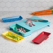 Tasty Poly Cutting Board Prep Station Set with Removable Trays, Tasty Blue, 5 Piece
