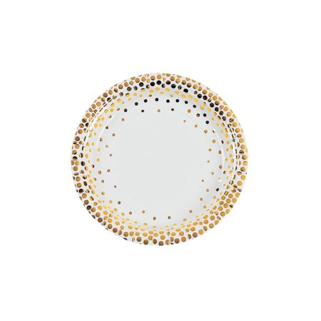 White with Gold Foil Dots Paper Dessert Plates](Gold And White Paper Plates)