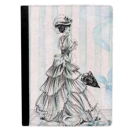 Vintage Classic Greeting Card Of Victorian Woman Holding Umbrella Apple Ipad Pro 9 7 Inch Leather Flip Tablet Case