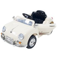 Ride On Toy Car, Battery Powered Classic Sports Car With Remote Control and Sound by Hey! Play! – Toys for Boys and Girls, 2 – 5 Year Olds (Cream)