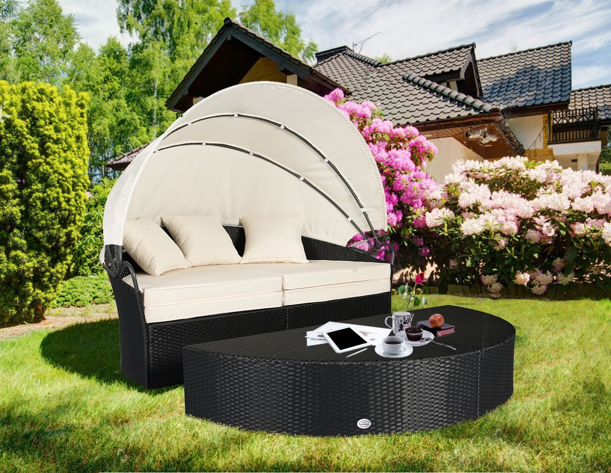 Cloud Mountain 4 Piece Patio Rattan Round Canopy Daybed Outdoor Cushioned  Wicker Furniture Daybed Retractable Garden