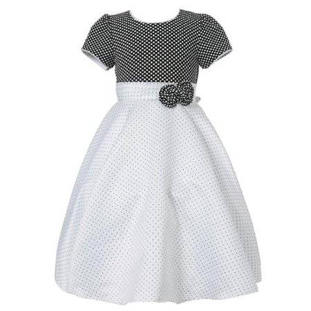 Richie House Girls White Black Pintuck Dotted Bow Polished Dress 9/10 ()