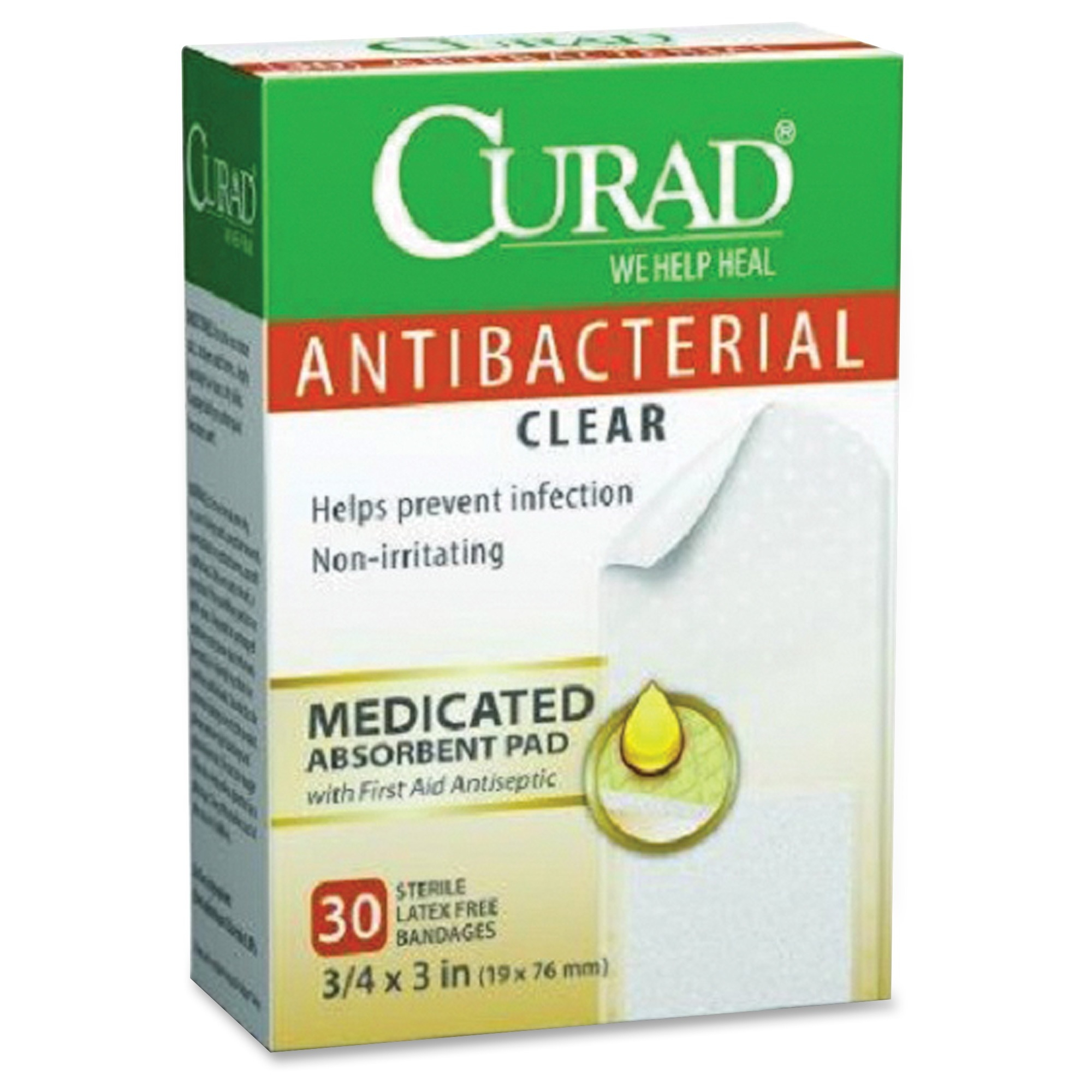 Curad Antibacterial Clear Bandages - 30/box - Clear (cur44255)