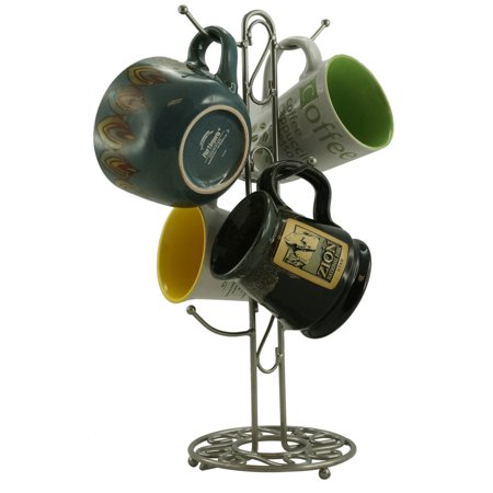 Metal Coffee Cup Holder Kitchen Coffee Mug Tree Countertop Tea Cups Holder Stand Brushed Chrome