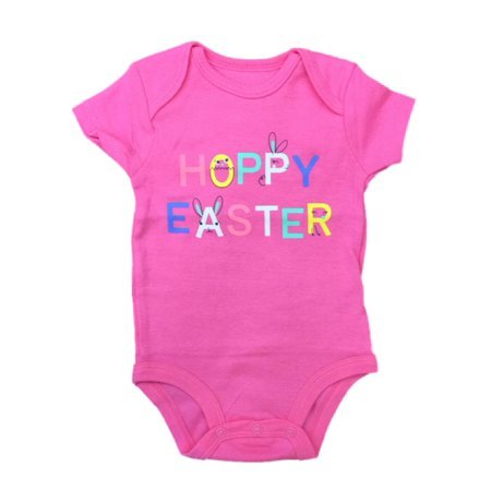 Infant Girls Pink Hoppy Easter Outfit Baby Bunny Rabbit Bodysuit Creeper