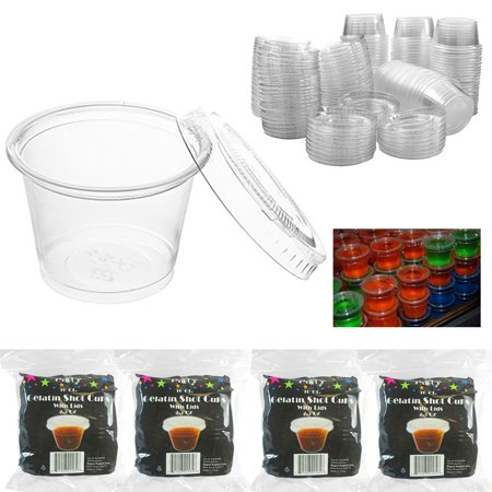 Creative Halloween Jello Shots (2.5 oz Clear Plastic Souffle Portion Cups Jello Jelly Shot Glasses w/Lid 64)