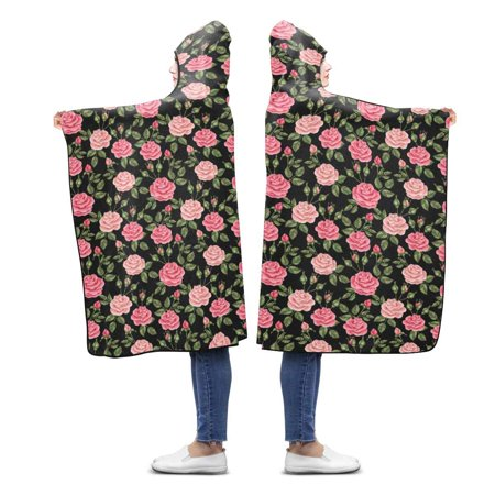 HATIART Pink Roses Hooded Blanket 56x80 inches Adults Girls Boys Throw Polar Fleece Blankets Wrap - image 2 of 2