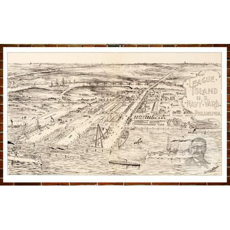 Ted\'s Vintage Art Map of Philadelphia, PA 1897; Old Pennsylvania Decor 8\