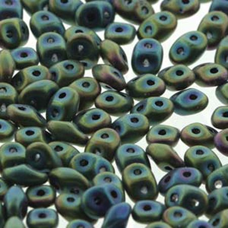Jet Green Iris Mat 2x4mm 2 Hole Bead 8 Grams Superduo (Jet 2 Light)