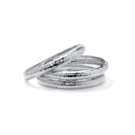 3 Piece Bangle Bracelet (Hammered 3-Piece Bangle Bracelet Set in Silvertone)