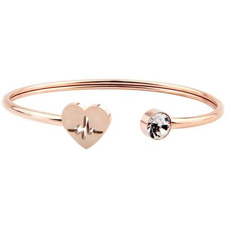 Gold Bangle Bracelet Jewelry (Rose Gold HeartBeat Jewelry Nurse HeartBeat Bracelet Cuff Bangle for Nurse Day Gift )