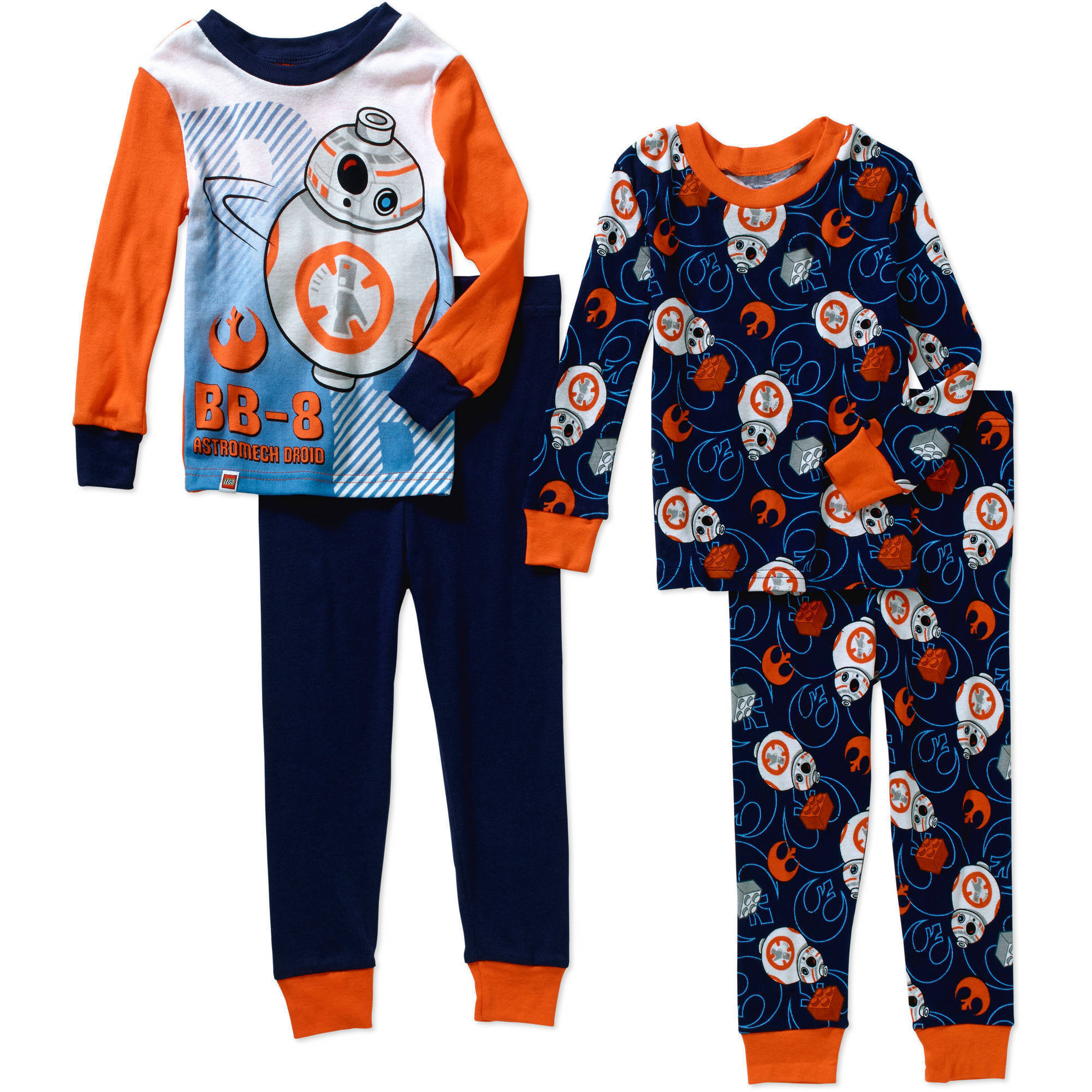 Boys' Licensed Glow in the Dark 4 Piece Cotton Pajama Sleepwear Set, Available in 4 Characters