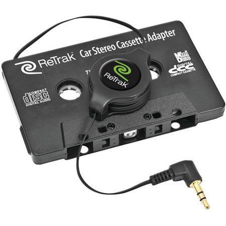 Retrak Etcassetteb Retractable Stereo Cassette Adapter  Black