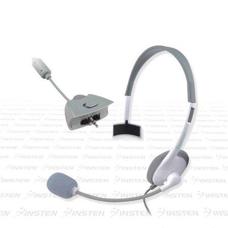 Insten Gaming Wired Headset Live Chat Mic For Microsoft xBox 360, White Gaming Headsets With Microphones for xBox