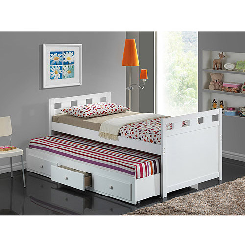 Broyhill Kids Breckenridge Captain's Bed with Trundle Bed and Drawers, White