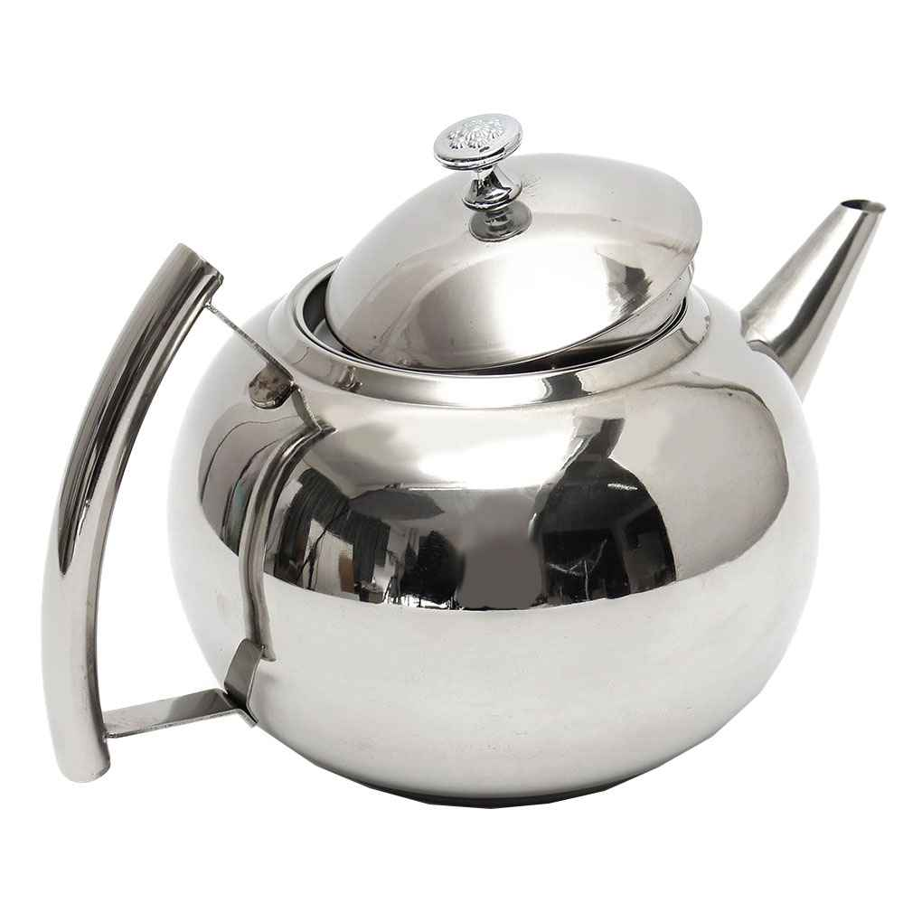 1L Polished Stainless Steel Teapot Tea Pot Coffee With Tea Leaf Filter Infuser by