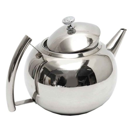 1L Polished Stainless Steel Teapot Tea Pot Coffee With Tea Leaf Filter Infuser - Metal Teapot