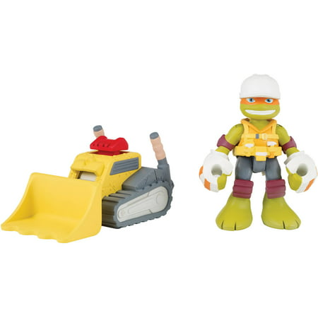 Construction Michelangelo with Mini Bulldozer - Michelangelo Nunchucks Toy