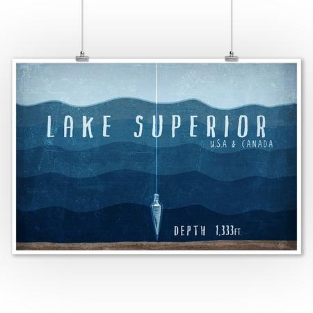 Lake Superior, Wisconsin - Lake Essentials - Lake Depth - Lantern Press Artwork (9x12 Art Print, Wall Decor Travel Poster) ()