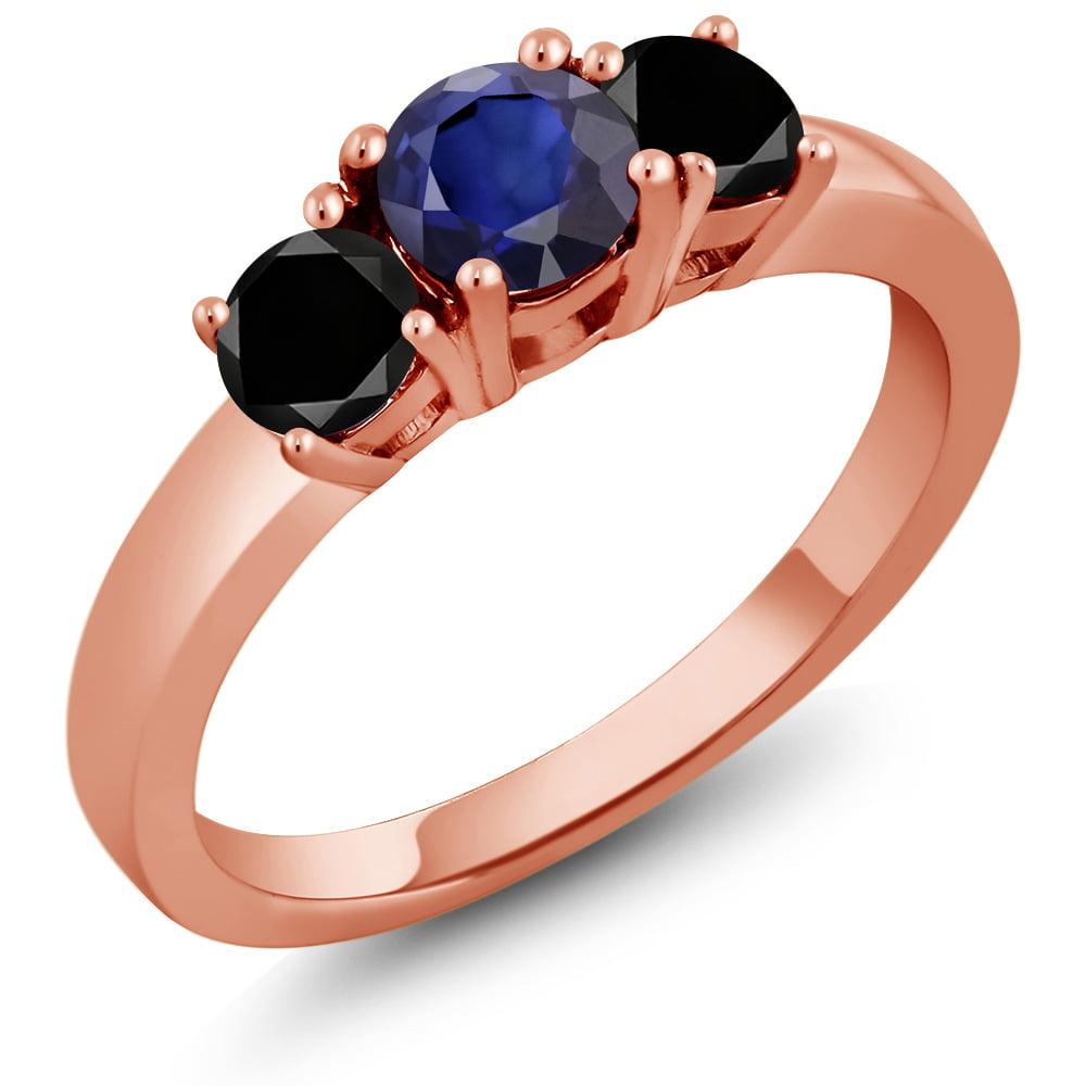 0.94 Ct Round Blue Sapphire Sky Blue Aquamarine 14K Yellow Gold Ring