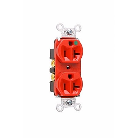 Pass and Seymour 8300-HRED Red Heavy-Duty Hospital Grade Receptacle Duplex Outlet 20A 125V (Hospital Grade Receptacle Outlet)