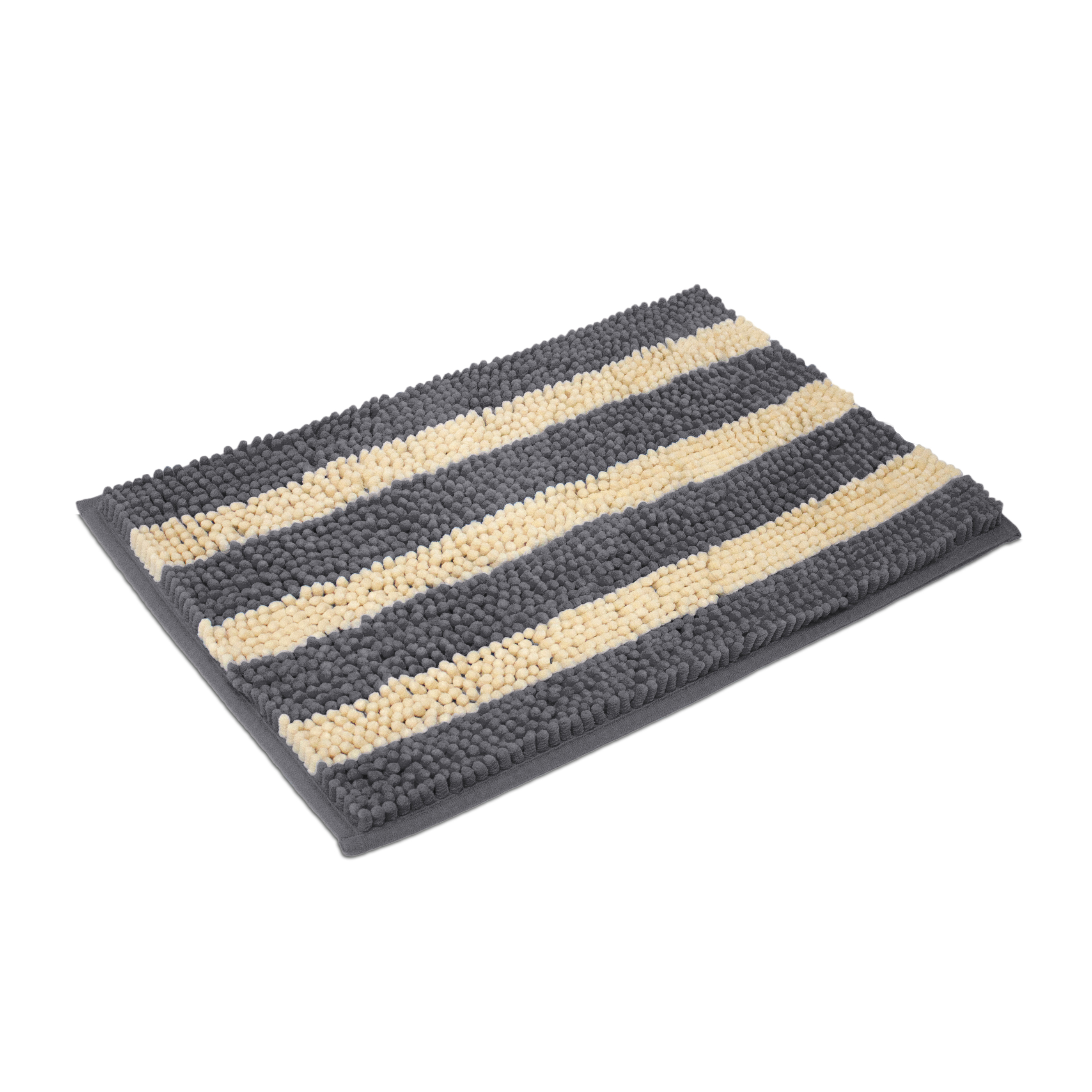 "Cabana Stripe Chenille Yarn Bath Mat, 20""x32"", Grey"