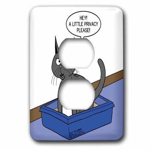 3dRose Cat Courtesy - a.k.a. Kitty Litter Privacy, 2 Plug Outlet Cover