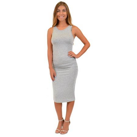 Heather Grey Racerback Tank Dress (Women's Tank Dress - Small (0-2) / Heather)