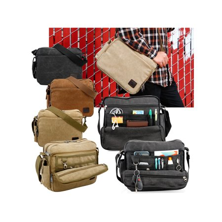 Men S Vintage Canvas Crossbody Bag Shoulder Casual Handbag School Messenger Bags Satchel