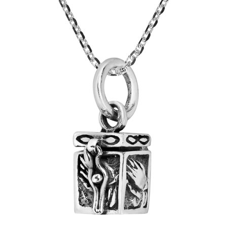 Prayer Hand Personal Box Locket .925 Sterling Silver Pendant Necklace (Personal Necklaces)