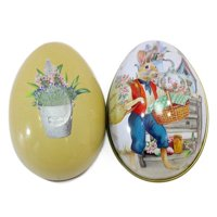 1Pcs Design Easter Day Eggs Bunny Painted Wedding Candy Cans Metal Tinplate Cans Party Accessories