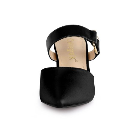 Women's Pointed Toe Chunky Heel Dress Mules Pumps Black US 9 - image 5 of 7