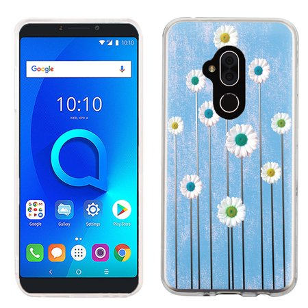 For Alcatel 7 Case, OneToughShield ® Scratch-Resistant Slim-Fit TPU Protective Phone Case Cover - Daisy - Daisy Protective Case