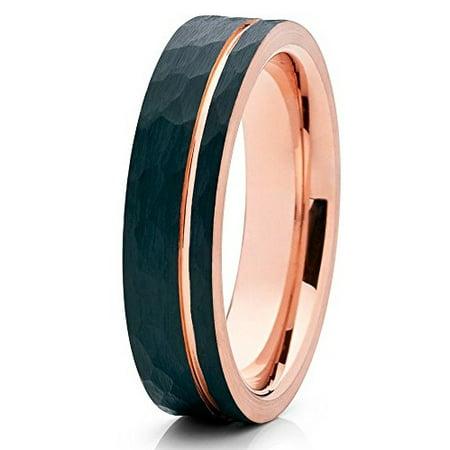 Tungsten Wedding Band 18K Rose Gold Tungsten Ring 6mm Hammered Brushed Black Tungsten Carbide Men & Women Comfort Fit 18k Rose Gold Wedding Band