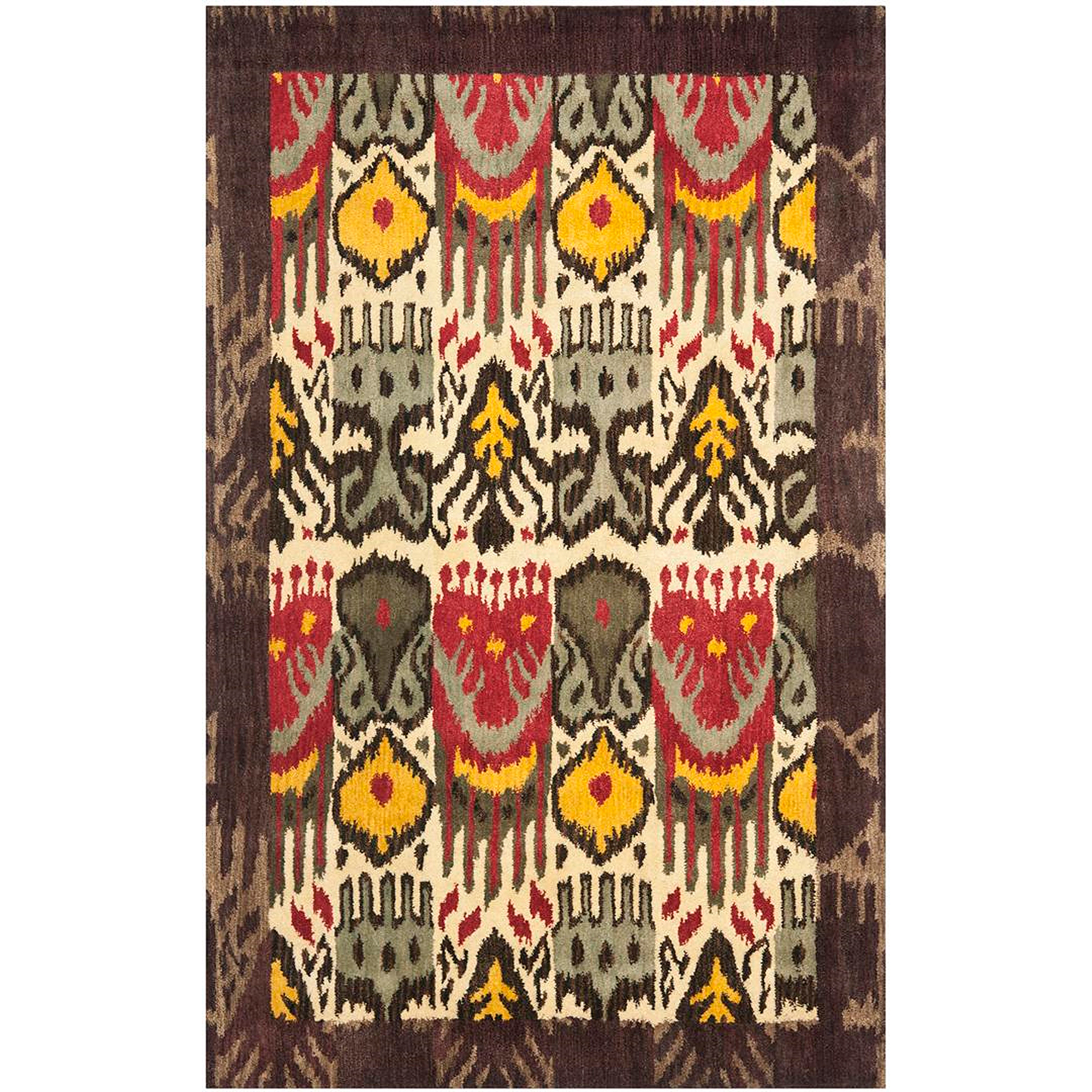 safavieh ikat anderson hand tufted wool area rug cream and brown