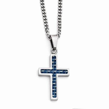 Stainless Steel Blue Carbon Fiber Inlay Polished Small Cross Necklace