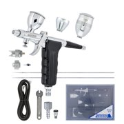 Master G77 Pistol Trigger Gravity Feed Airbrush, 2 Nozzle Sets, Spray Gun Fan Head, Round Pattern Head, 3 Cup Sizes Hose