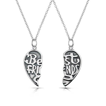 2 PCS Best Friend Forever BFF Split Broken Puzzle Heart Break Apart Pendant Necklace For Women For Teen Sterling